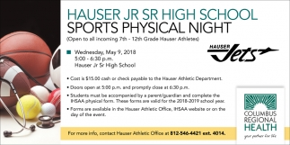 Hauser Jr Sr Highschool Sports Physical Night