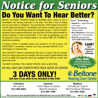 Notice For Seniors