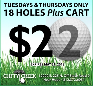 Tuesday And Thursdays Only 18 Holes Plus Cart