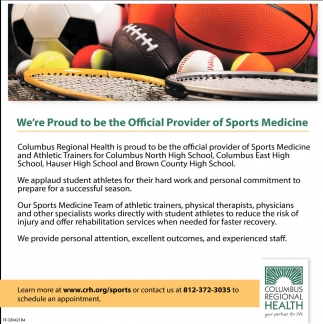 We're Proud To Be The Official Provider Of Sports Medicine