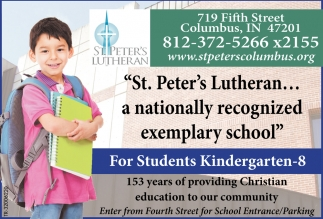 St. Peter's Lutheran... A Nationally Recognized Exemplary School