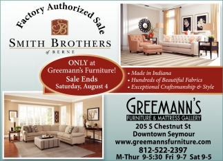 Factory Authorized Sale, Greemannu0027s Furniture And Mattress Gallery,  Seymour, IN