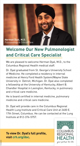 Welcome Our New Pulmonologist And Critical Care Specialist