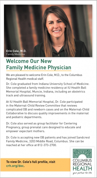 Welcome Our New Family Medicine Physician