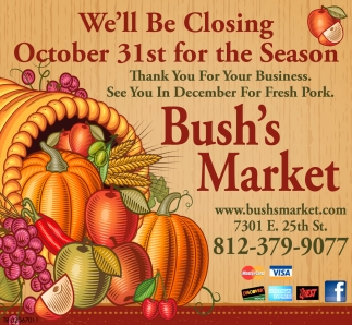 We'll Be Closing October 31st For The Season