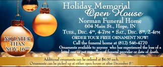 Holiday Memorial Open House