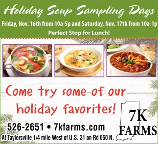 Holiday Soup Sampling Days