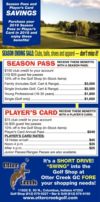 Season Pass And Player's Card Savings