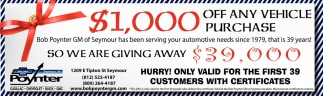 $1,000 Off Any Vehicle Purchase