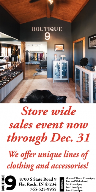 Store Wide Sales Event Now Through Dec. 31