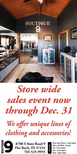 Store Wide Sales Event Now Through Dec. 31