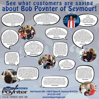 See What Costumers Are Saying About Bob Poynter Of Seymour!