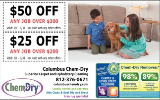 $50 Off Any Job Over $300, Chem-Dry, Columbus, IN