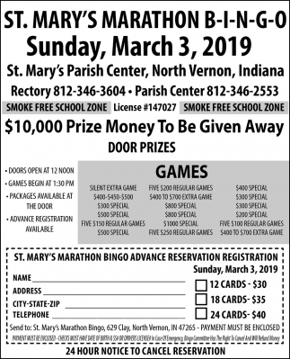 St. Mary's Mini Marathon B-I-N-G-O
