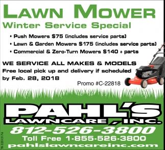 Lawn Mower Winter Service Special Pahl S Lawncare Inc