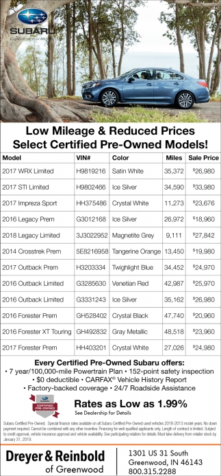 Low Mileage & Reduced Prices Select Certified Pre-Owned Models!