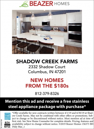 Shadow Creek Farms From The $180s
