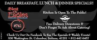 Daily Breakfast, Lunch And Dinner Specials!!