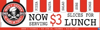 Now Serving $3 Slices For Lunch