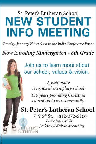 New Student Info Meeting