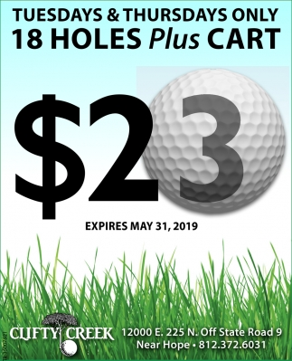 Tuesdays & Thursdays Only 18 Holes Plus Cart