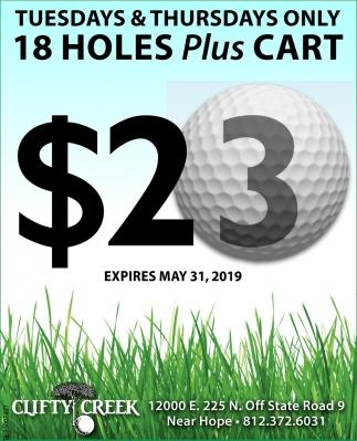 Tuesdays & Thursdays Only 18 Holes Plus Cart