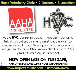 Now Open Late On Tuesdays, Hope Veterinary Clinic, Columbus, IN