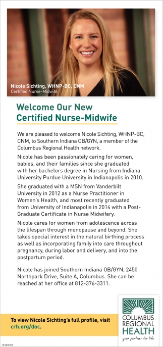 Welcome Our New Certified Nurse-Midwife