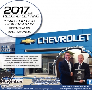 2017 Was A Record Setting Year For Our Dealership In Both Sales And Service.
