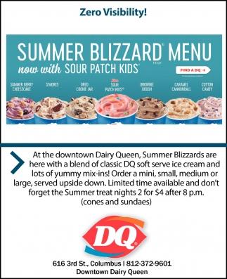 Summer Blizzard Menu