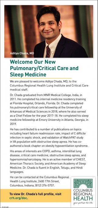 Welcome Our New Pulmonary/Critical Care And Sleep Medicine