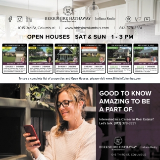 Open Houses Sat & Sun 1 - 3 PM