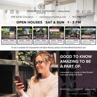 Open Houses Sat & Sun 1 - 3 PM