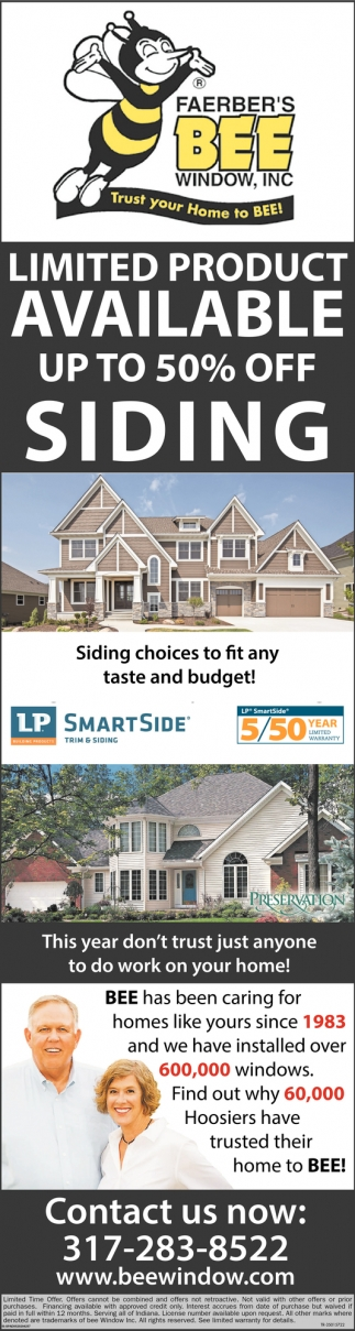 Limited Product Available Up To 50% Off Siding