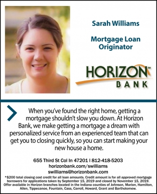 Sarah Williams Mortgage Loan Originator