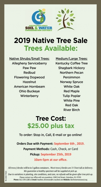 2019 Native Tree Sale