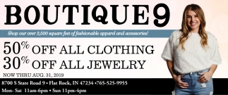 50% Off All Clothing & 30% Off All Jewelry