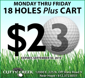 Monday Thru Friday 18 Holes Plus Cart