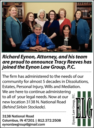 Are Proud To Announce Tracy Reeves Has Joined The Eynon Law Group