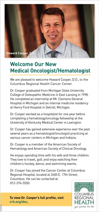 Welcome Our New Medical Oncologist/Hematologist