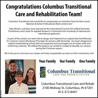 Congratulations Columbus Transitional Care And Rehabilitation Team!
