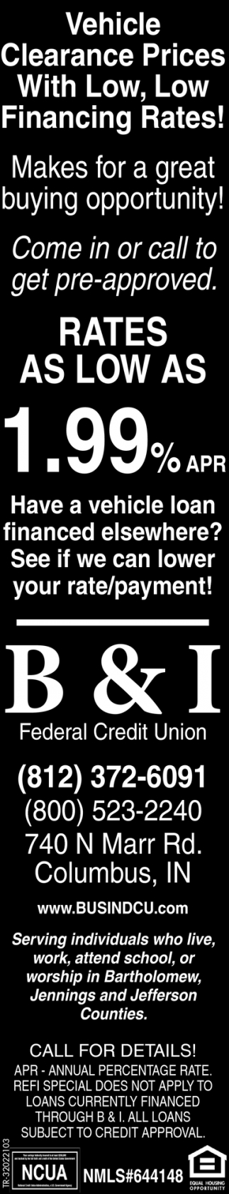 Vehicle Clearance Prices With Low, Low Financing Rates!