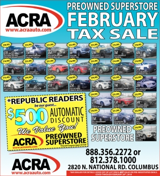 Preowned Superstore February Tax Sale