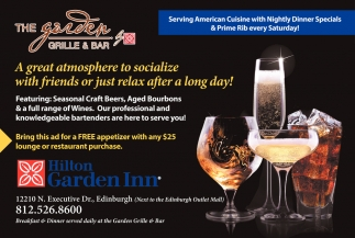 The garden grille and bar hilton garden inn edinburgh in for Hilton garden inn edinburgh in