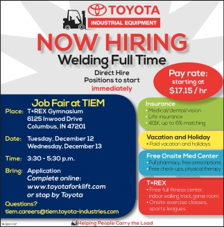 Now Hiring Welding Full Time