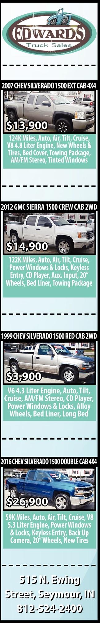 2017 Chev Silverado 1500 Ext Cab 4x4