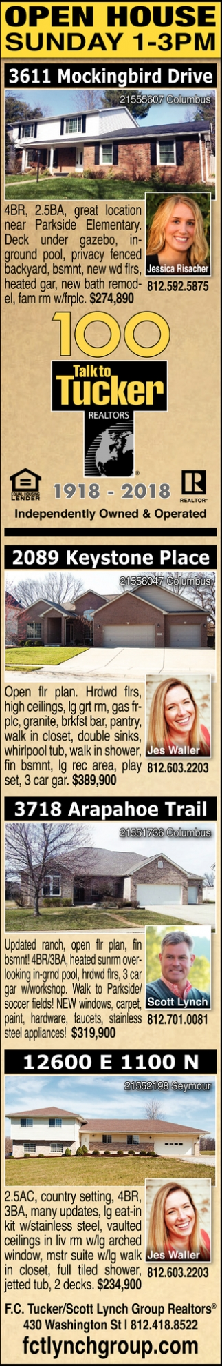 Open Houses Sunday 1-3 PM